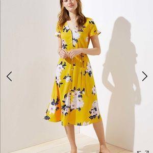 Yellow Floral Dress, size 12 regular or petite